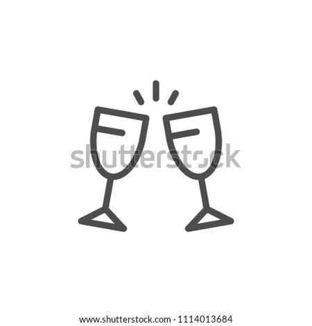 Cheers line icon isolated on white