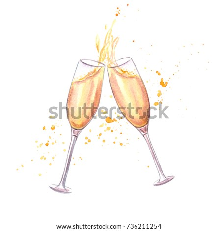 Cheers! Pair of champagne glasses in toasting isolated on white background