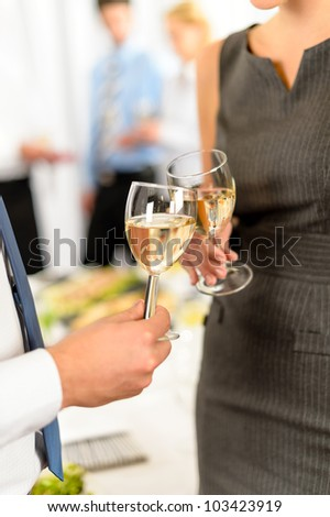 Cheers toast of company partners at meeting celebrate cooperation