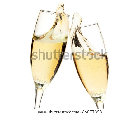 Cheers! Two champagne glasses. Closeup, isolated on white
