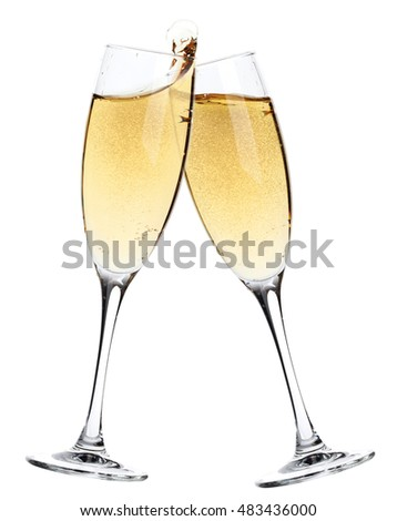 Cheers! Two champagne glasses. Isolated on white background #483436000