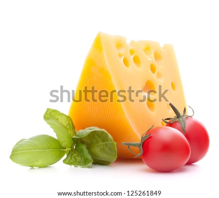 Cheese and basil leaves still life  isolated on white background cutout - stock photo