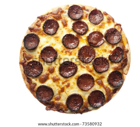 cheese and pepperoni sausage pizza isolated on a white background