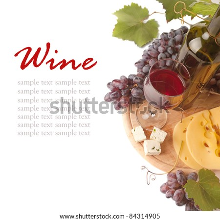 Cheese  and red wine, isolated on white background