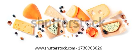 Cheese and wine tasting and pairing, a flat lay on a white background with a place for text. Various cheeses, shot from above