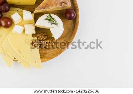 Cheese appetizer with gourmet food