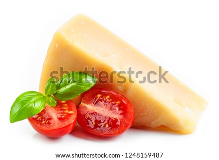 cheese, basil and tomato isolated on white background