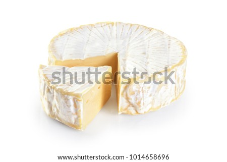 Cheese brie isolated on white background.