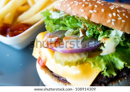 Cheese burger American cheese burger with fresh salad