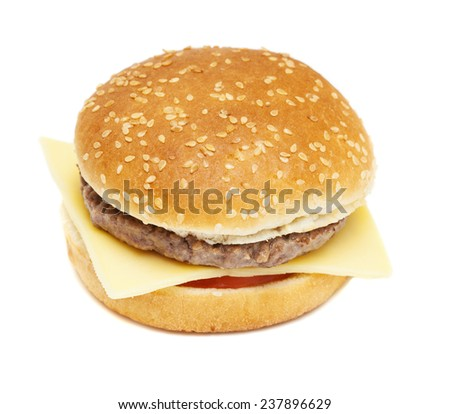 cheese burger isolated on white background #237896629