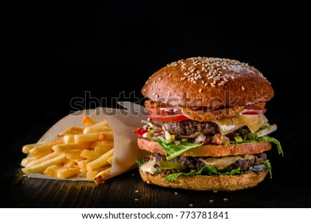 cheese burger with grilled meat ...