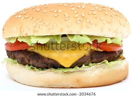 Cheese burger with lettuce cheese and tomato, isolated over white, macro, close up with copy space