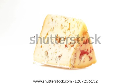 Cheese cheese piece cheese wedge isolated on white slice blue cheese gorgonzola