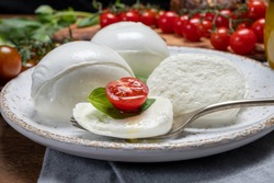 Cheese collection, eating of white soft Italian cheese mozzarella, served with red cherry tomatoes, fresh basil leaves close up