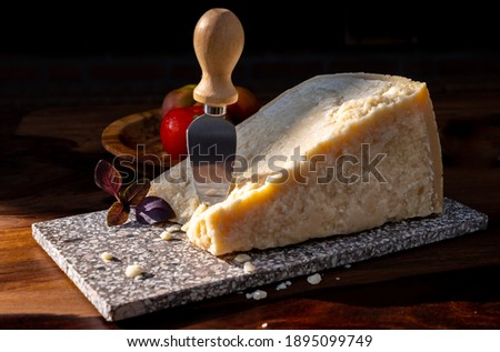 Cheese collection, hard yellow Italian cheese parmesan or parmigiano reggiano close up Foto d'archivio ©