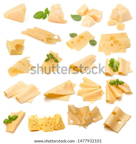 Cheese collection isolated on white background. Set of different cheeses.