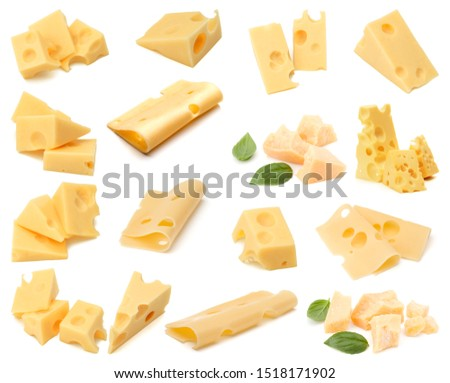 Cheese collection isolated on white background. Set of different cheeses..