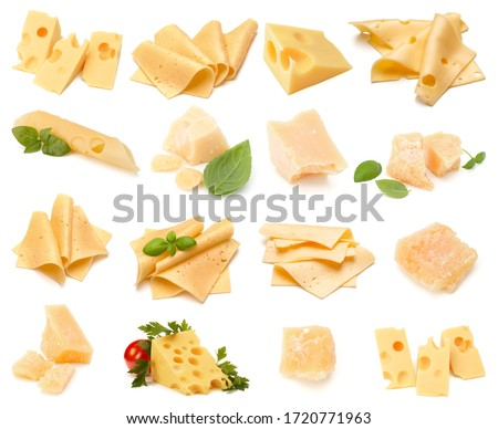 Cheese collection isolated over white background. Set of different cheeses.