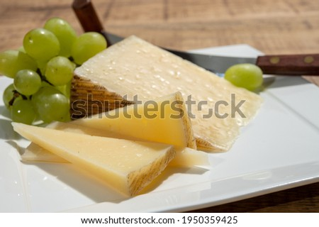 Cheese collection, piece of spanisch hard manchego cheese made in La Mancha region from sheep milk with green grapes close up Foto stock ©