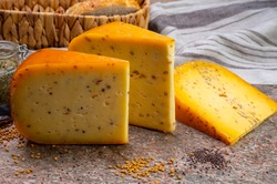 Cheese collection, pieces of hard yellow Dutch gouda cheese with dried caraway, mustard, cumin, fenugreek, pepper seeds close up