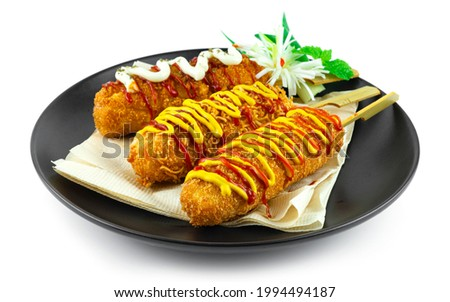 Cheese Corndog 3 Favourite Instant noodles, French fries Potato and Bread Crumbs inside Mozzarella cheese and hotgog style Korean Street Food popular break time menu sideview
