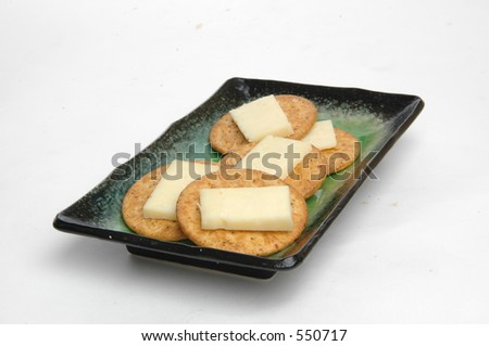 cheese crackers on plate