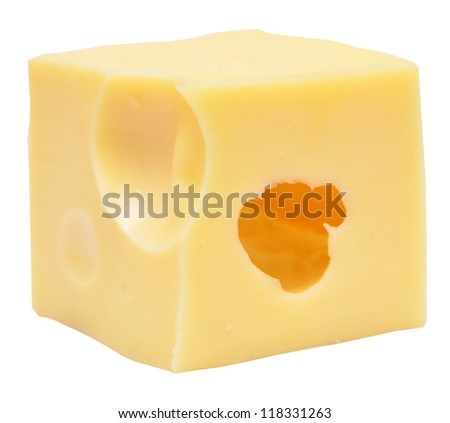 cheese cube isolated on white