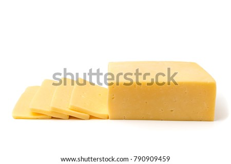 Cheese cut into slices, isolated.