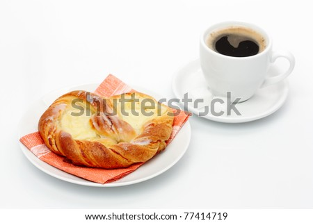 Cheese Danish and Coffee Cup - stock photo