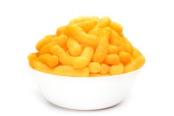 Cheese Doodle Day, cheese puffs in a white bowl, crisps