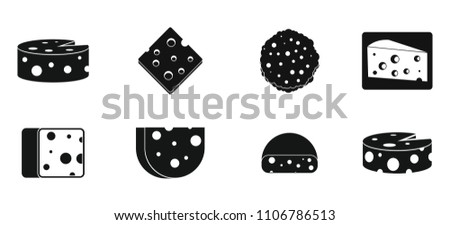 Cheese icon set. Simple set of cheese icons for web design isolated on white background