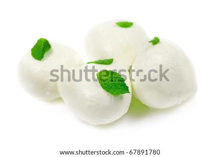 Cheese Italian Mozzarella in balls isolated over white background
