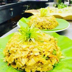 cheese kottu on lotus leaf