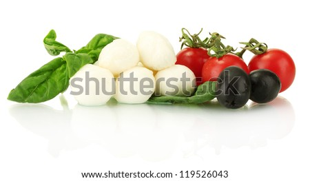 cheese mozzarella with vegetables and herbs isolated on white
