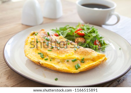 Cheese Omelet and Salad Stockfoto ©