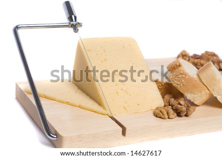 Cheese on board with bread and walnuts