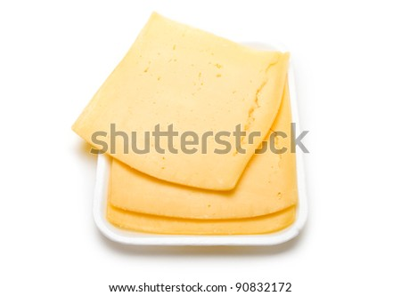 Cheese on the white background