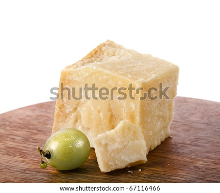 cheese parmesan wooden board  isolated  on white