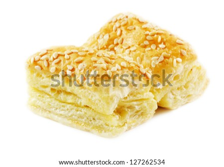 Cheese patties isolated on a white background