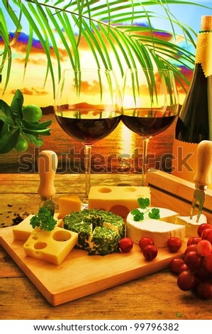 Cheese plate for romantic dinner