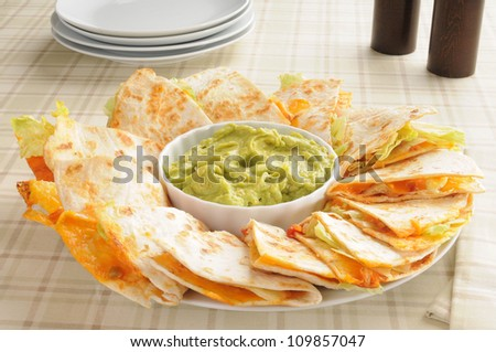 Cheese Quesadillas With Guacamole Stock Photo 109857047 : Shutterstock