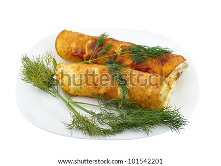 Cheese roll with fennel on a white background