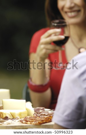 cheese, salami and couple