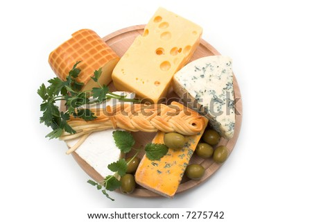 Cheese selection on wood-board