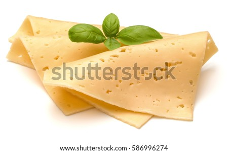 cheese slices and basil herb leaves isolated on white background cutout.