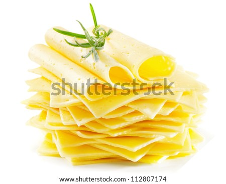 Cheese slices with fresh rosemary  isolated on white