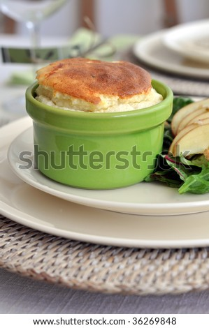 Cheese Souffle with  Apple Walnut Salad