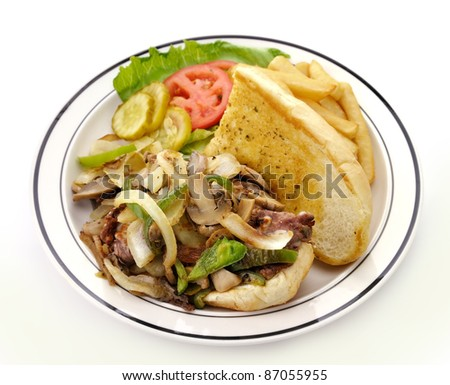 Cheese Steak Sandwich In A Plate, Close Up