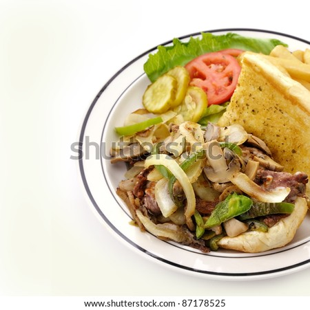 Cheese Steak Sandwich In A Plate, Close Up