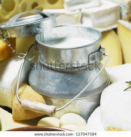 cheese still life with milk